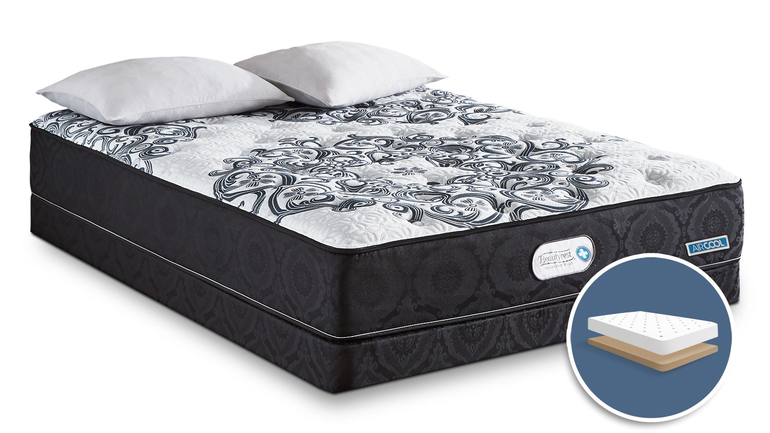 Mattresses and Bedding - Simmons Beautyrest® Recharge Plus Envy Tight-Top Firm Low-Profile King Mattress Set