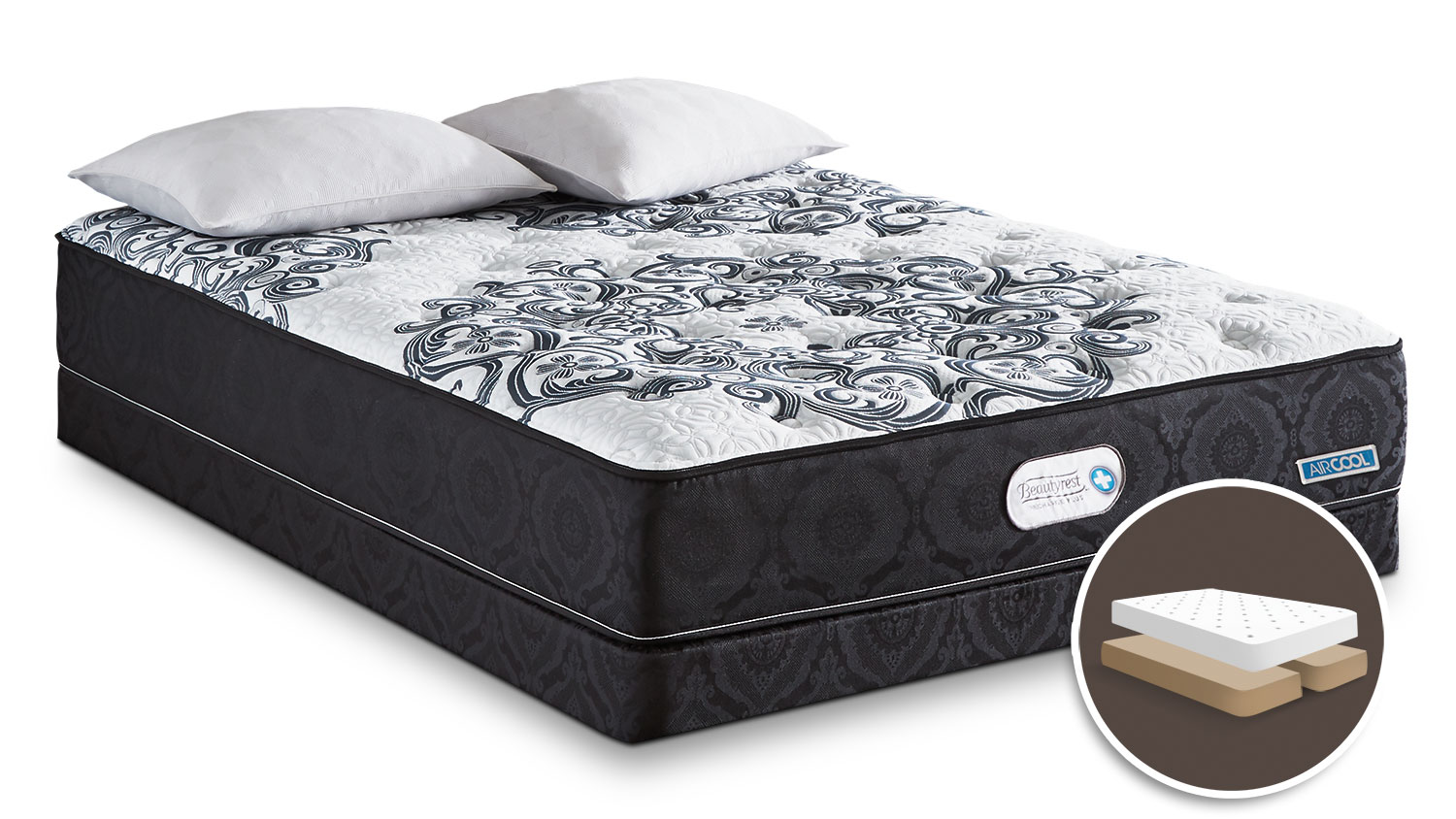 Mattresses and Bedding - Simmons Beautyrest® Recharge Plus Envy Tight-Top Firm Queen Set with Split Boxspring