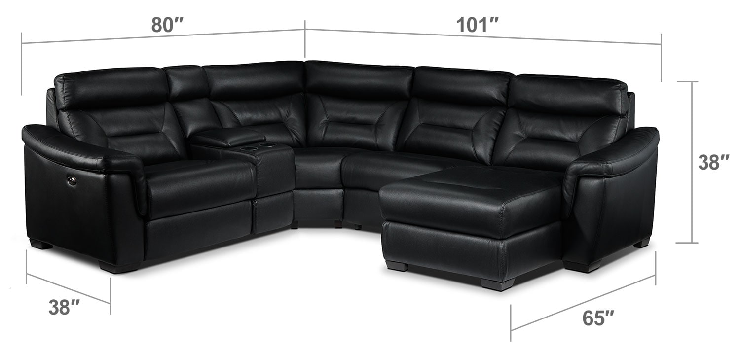 Living Room Furniture - Wexler 5-Piece Sectional with Right-Facing Chaise - Black