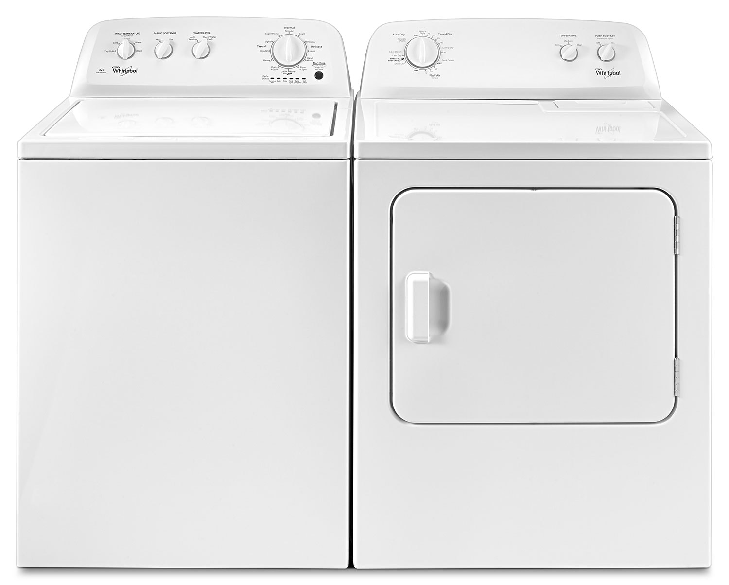 Washers and Dryers - Whirlpool 4.0 Cu. Ft. Top-Load Washer and 7.0 Cu. Ft. Electric Dryer – White