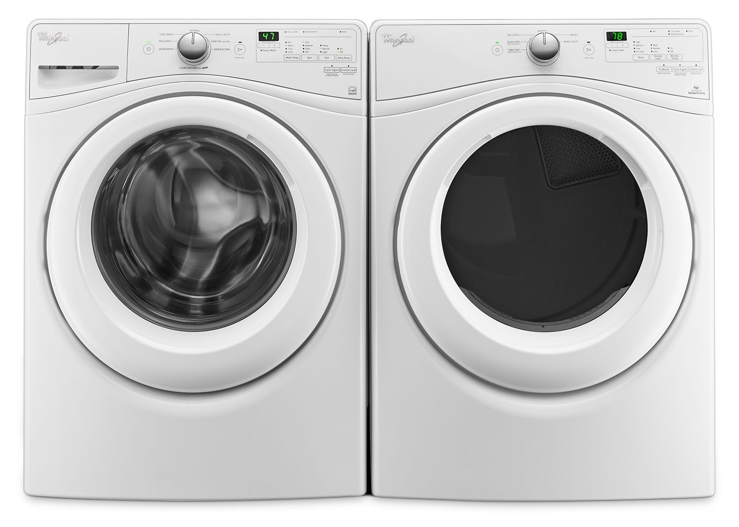 Washers and Dryers - Whirlpool 5.2 Cu. Ft. Front-Load Washer and 7.4 Cu. Ft. Electric Dryer – White