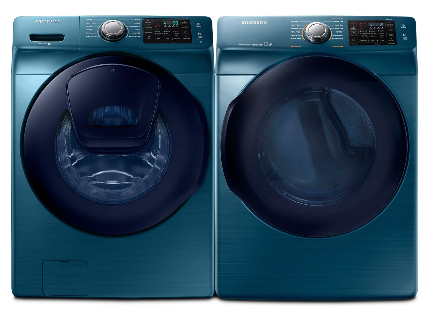 Washers and Dryers - Samsung 5.2 Cu. Ft. Front-Load Washer and 7.5 Cu. Ft. Electric Dryer – Sapphire Blue