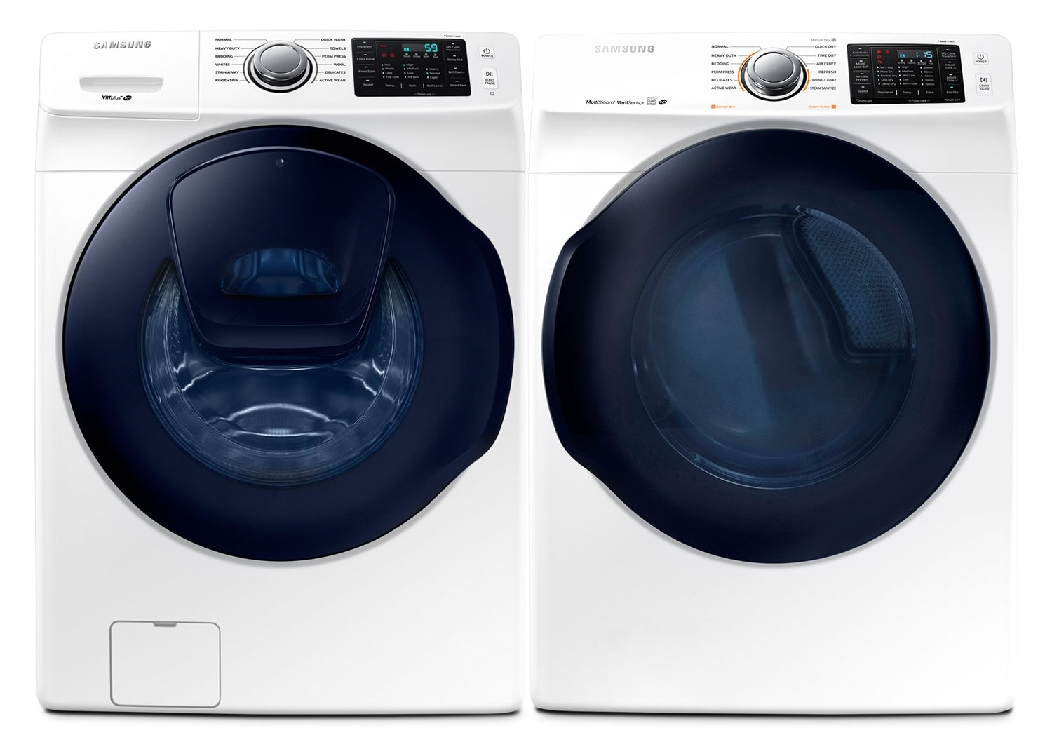 Samsung 5.2 Cu. Ft. Front-Load Washer and 7.5 Cu. Ft. Electric Dryer – White