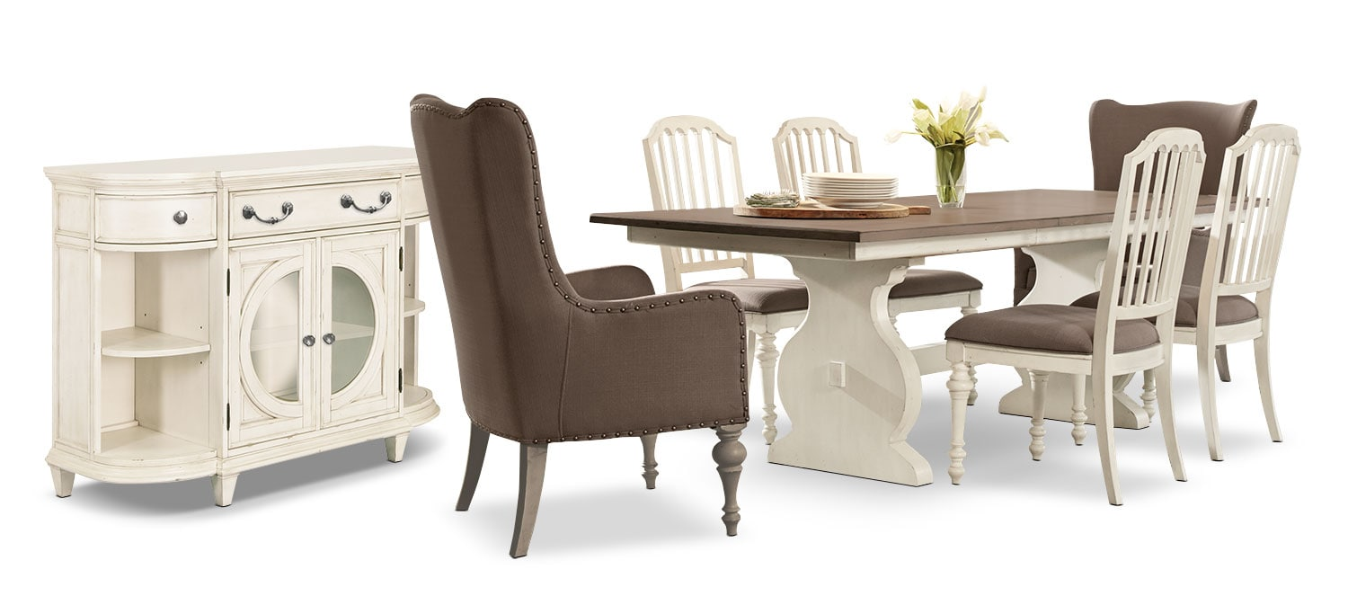 Hancock Park 8-Piece Dining Package with Arm Chairs