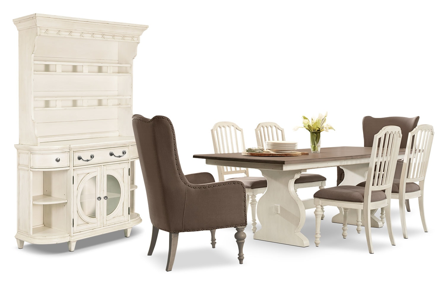 Dining Room Furniture - Hancock Park 9-Piece Dining Package with Arm Chairs