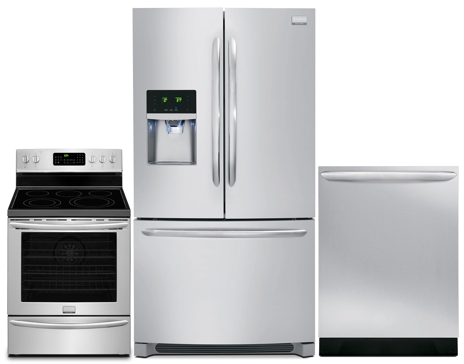 Frigidaire Gallery 28. Cu. Ft. Refrigerator, 5.8 Cu. Ft. Range and Dishwasher – Stainless Steel