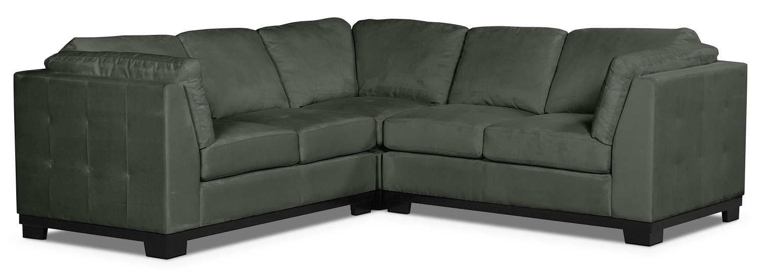 Oakdale 3 piece microsuede living room sectional grey the brick for Microsuede living room furniture