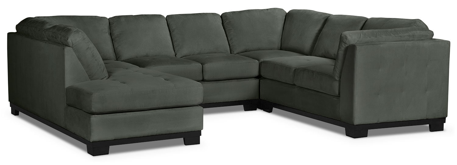 Living Room Furniture - Oakdale 4-Piece Microsuede Left-Facing Sectional – Grey