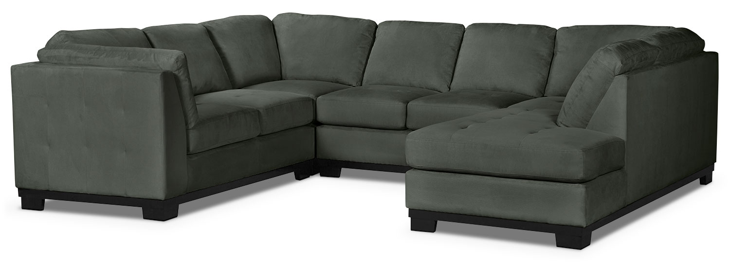 Oakdale 4 piece microsuede right facing sectional grey for Microsuede living room furniture