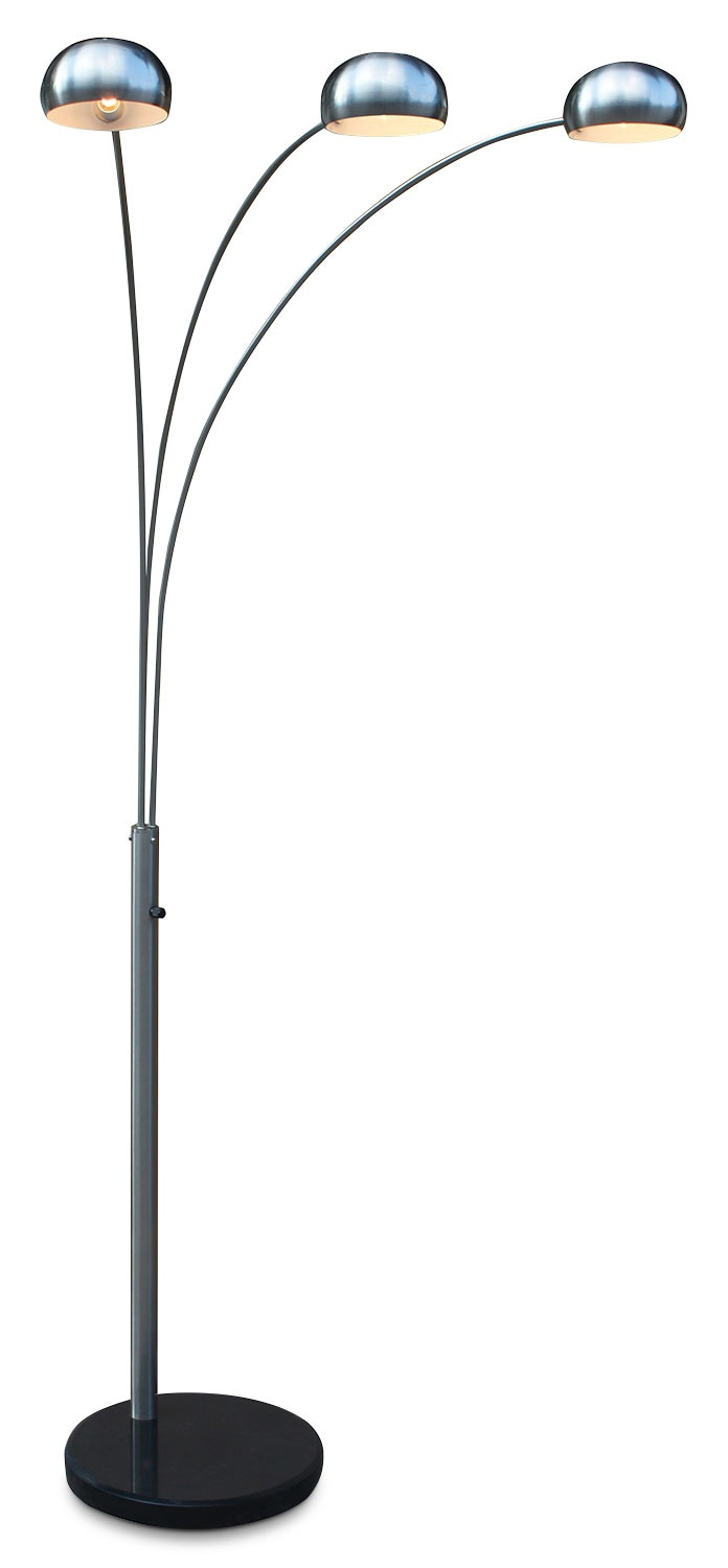 arc floor lamps brushed steel 3 light arc floor lamp the brick 10764