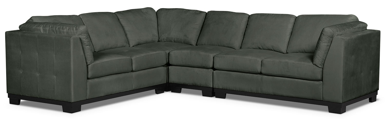 Oakdale 4-Piece Microsuede Sectional – Grey