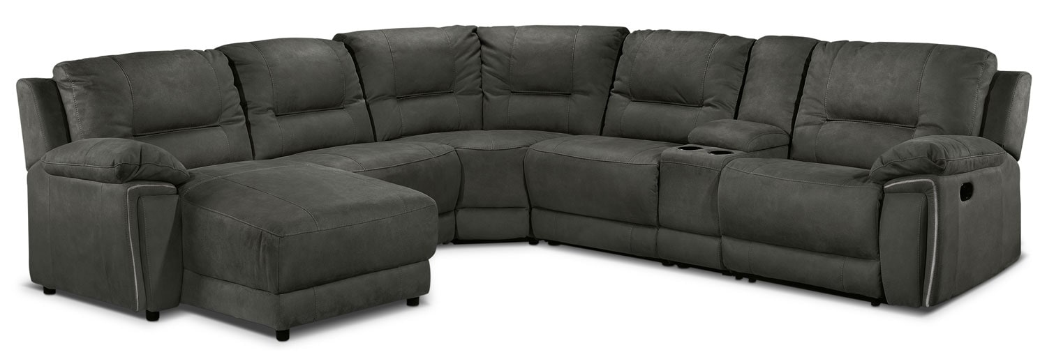 Pasadena 6 Pc. Left-Facing Reclining Sectional - Dark Grey