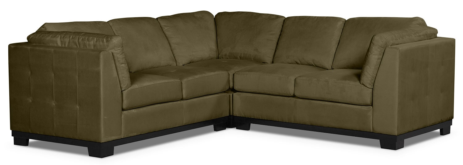 Living Room Furniture - Oakdale 3-Piece Microsuede Living Room Sectional – Peat