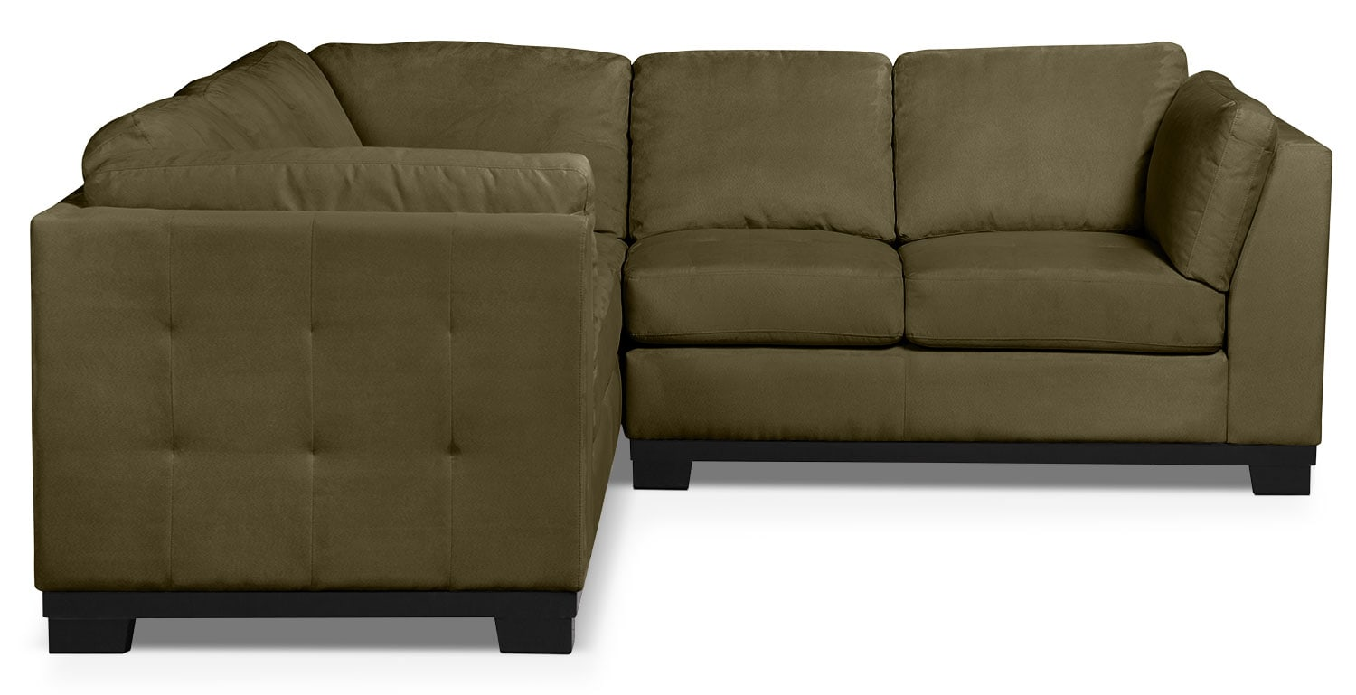 Oakdale 3 piece microsuede living room sectional peat the brick for Microsuede living room furniture