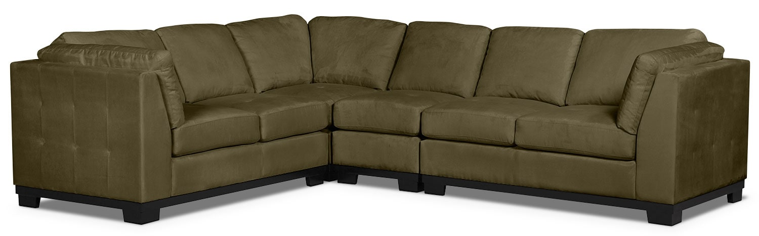 Living Room Furniture - Oakdale 4-Piece Microsuede Sectional – Peat