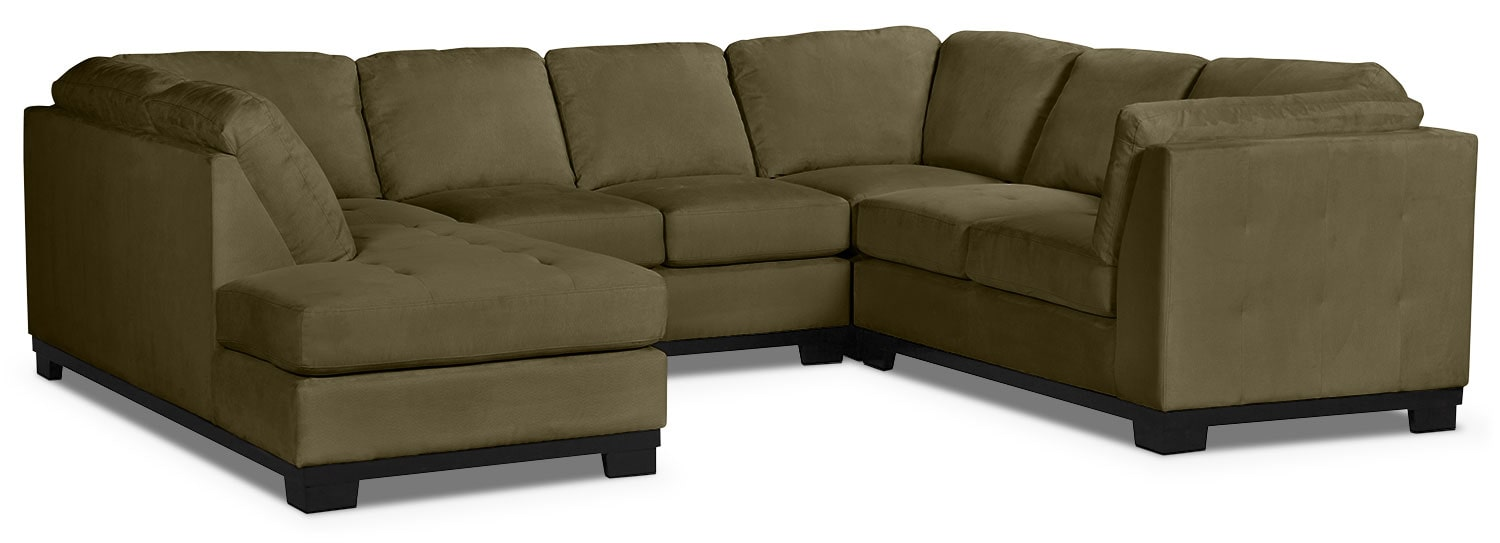 Living Room Furniture - Oakdale 4-Piece Microsuede Left-Facing Sectional – Peat