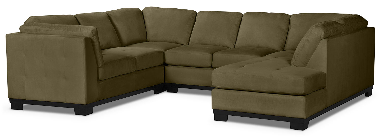 Living Room Furniture - Oakdale 4-Piece Microsuede Right-Facing Sectional – Peat
