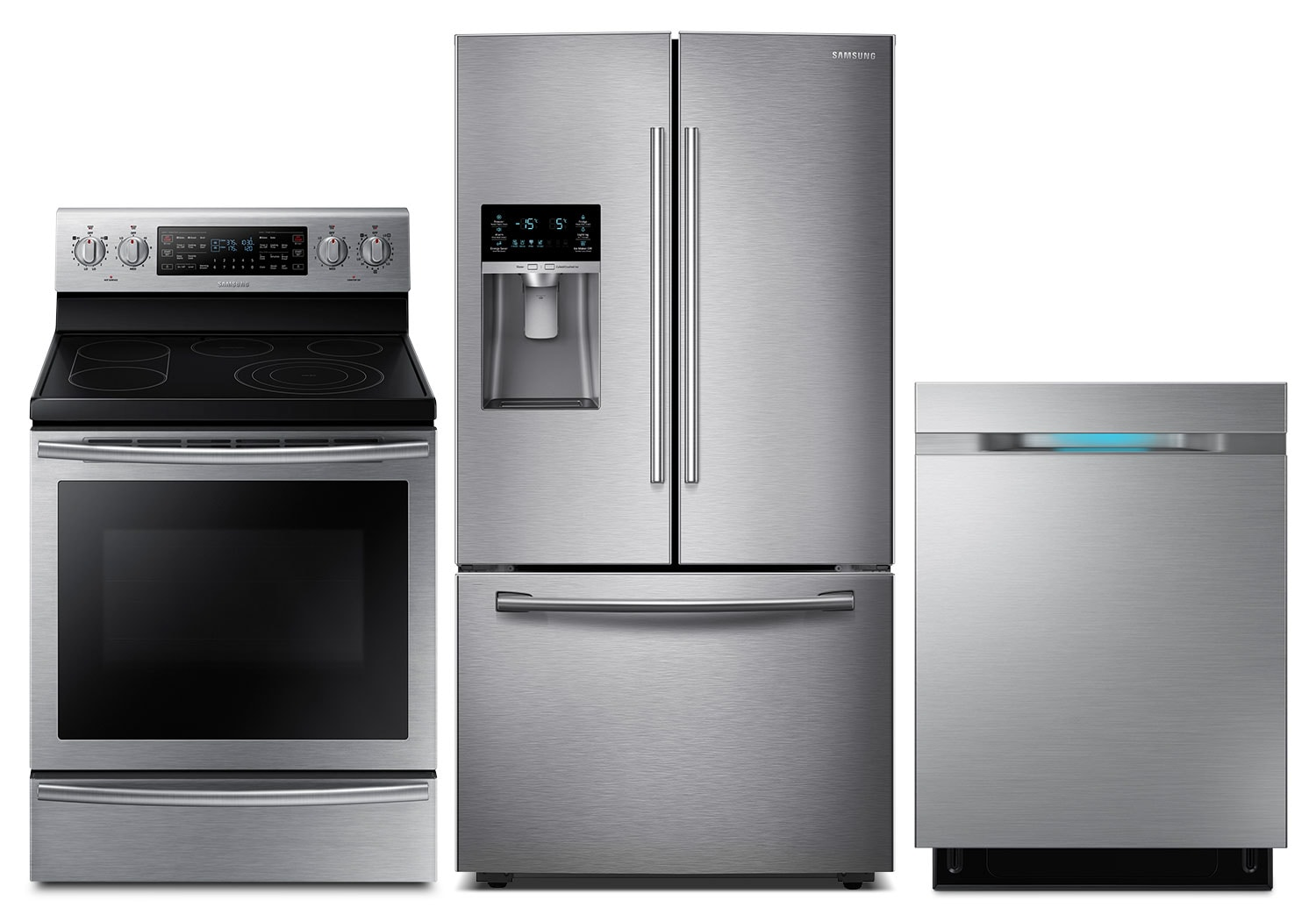Cooking Products - Samsung 28 Cu. Ft. Refrigerator, 5.9 Cu. Ft. Range and Dishwasher - Stainless Steel
