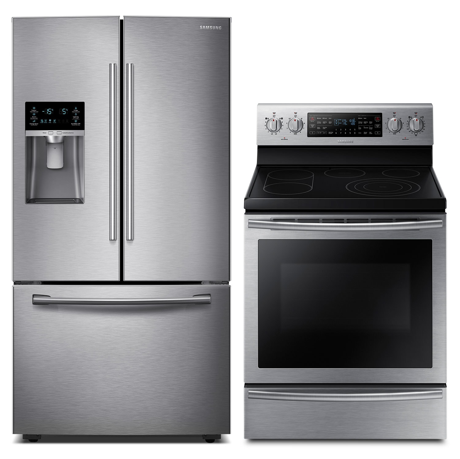 Cooking Products - Samsung 28 Cu. Ft. Refrigerator and 5.9 Cu. Ft. Electric Range – Stainless Steel
