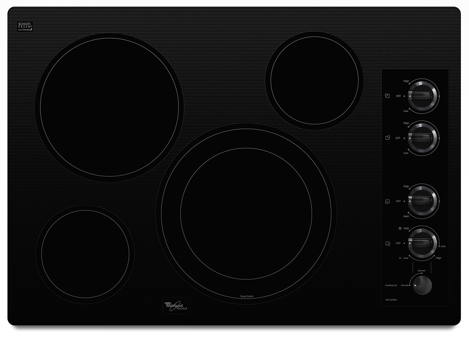 """Whirlpool® Gold® 30-inch Electric Ceramic Glass Cooktop with 12""""/9"""" Dual Radiant Element"""