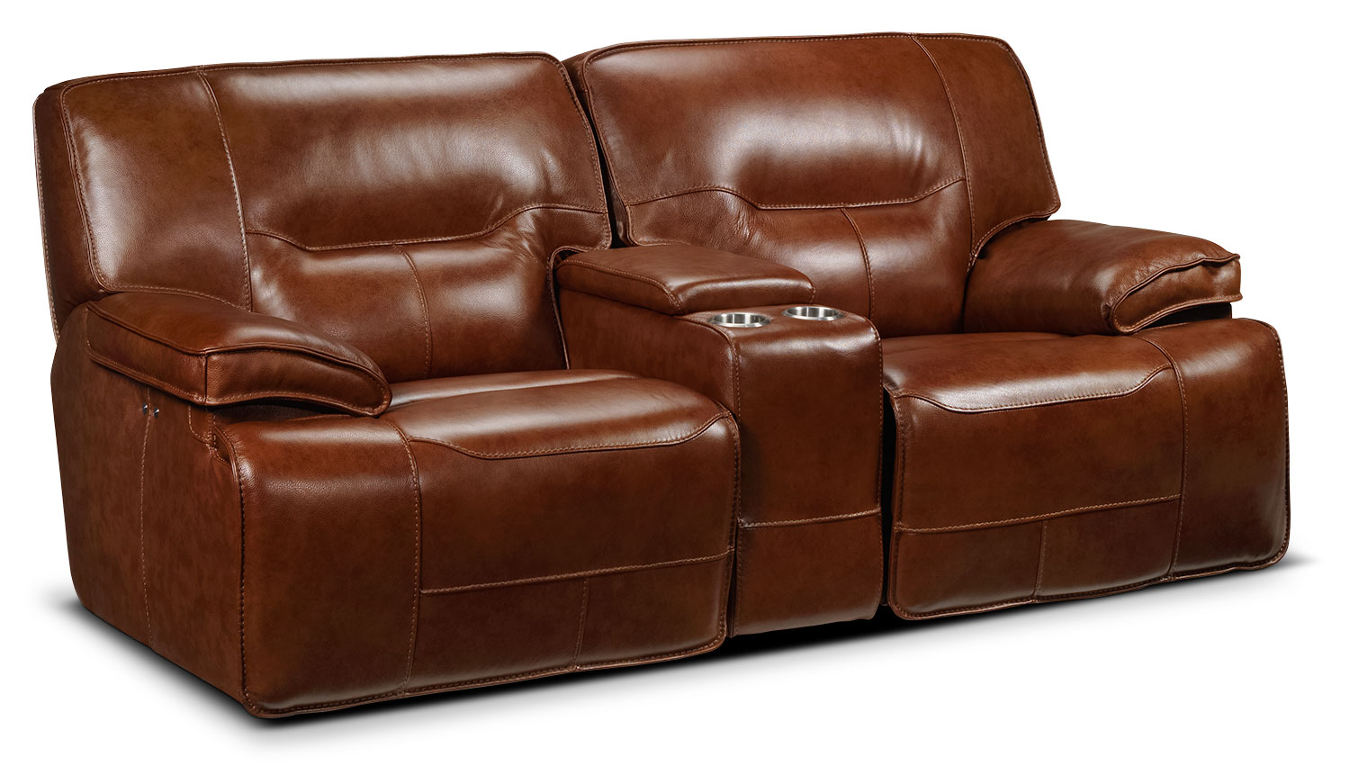 Living Room Furniture - Baxter Power Glider Reclining Loveseat - Chestnut