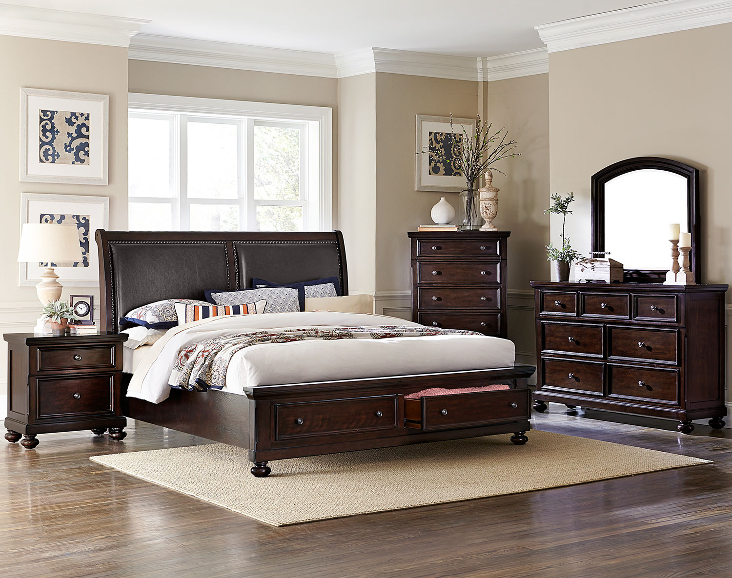chester 5 piece queen bedroom set cherry leon 39 s. Black Bedroom Furniture Sets. Home Design Ideas