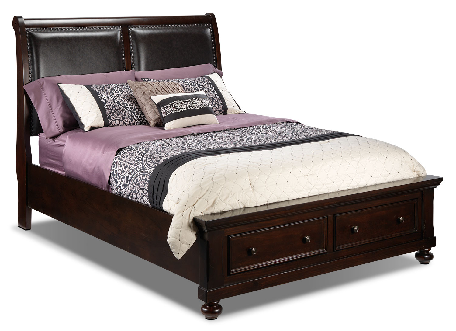 Chester queen storage bed cherry leon 39 s for Bedroom set and mattress