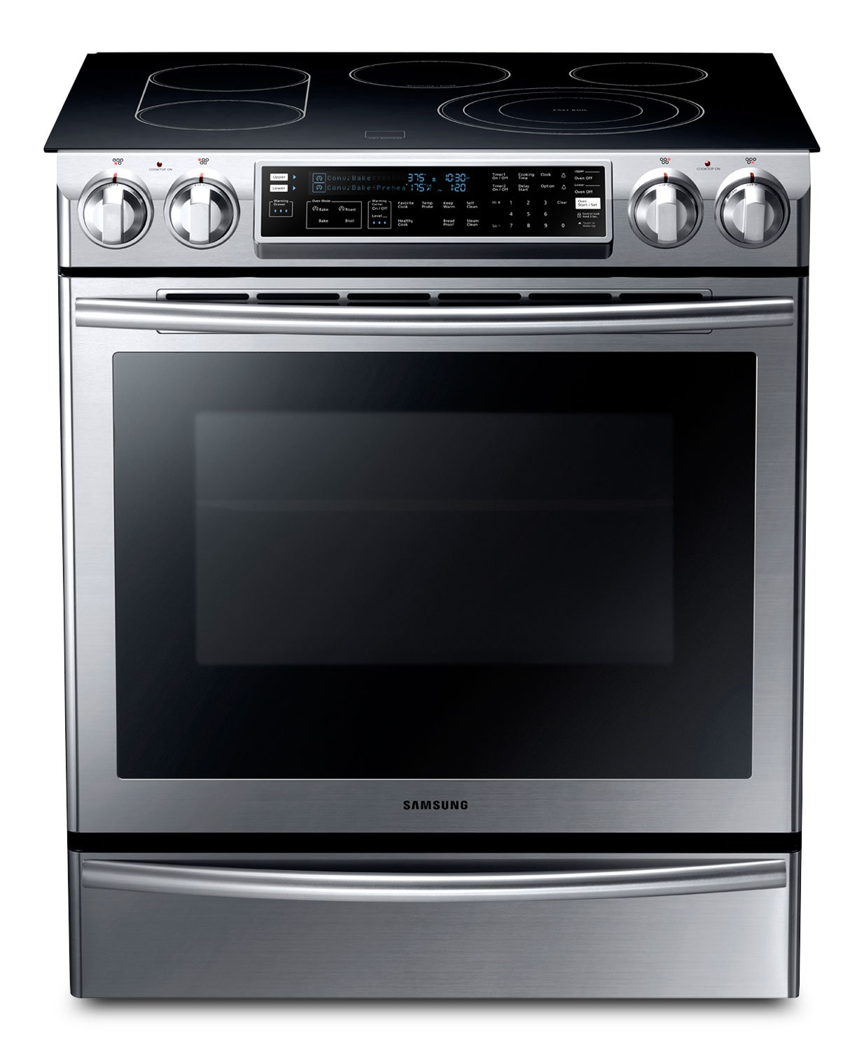 Cooking Products - Samsung Stainless Steel Slide-In Electric Convection Range (5.8 Cu. Ft.) - NE58F9710WS
