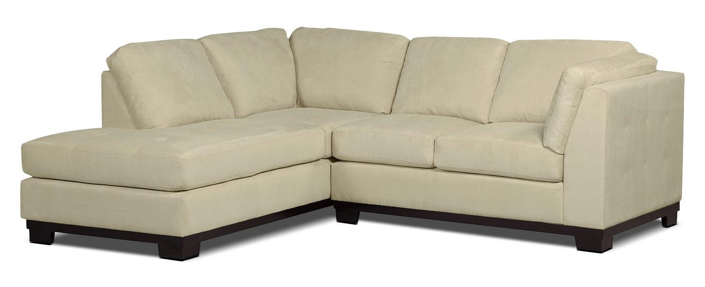 Living Room Furniture - Oakdale 2-Piece Microsuede Left-Facing Sectional – Mushroom