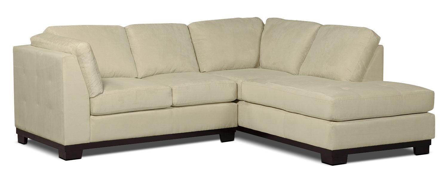 Living Room Furniture - Oakdale 2-Piece Microsuede Right-Facing Sectional – Mushroom