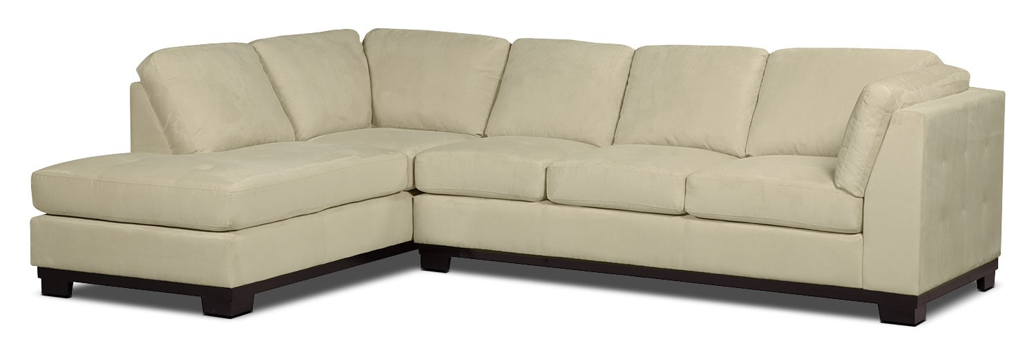 Living Room Furniture - Oakdale 2-Piece Microsuede Left-Facing Sectional with Sofa Bed – Mushroom