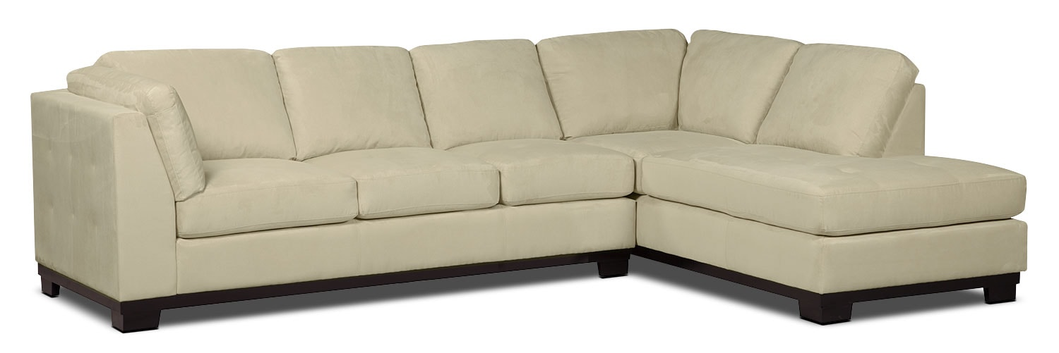 Living Room Furniture - Oakdale 2-Piece Microsuede Right-Facing Sectional with Sofa Bed – Mushroom