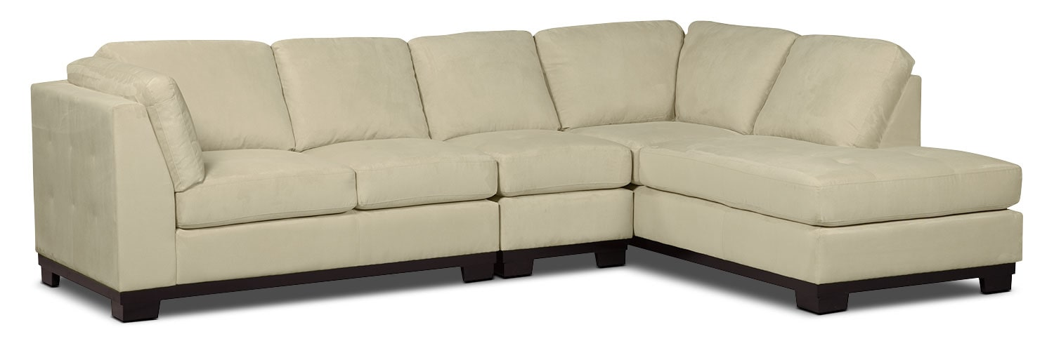 Living Room Furniture - Oakdale 3-Piece Microsuede Right-Facing Sectional – Mushroom