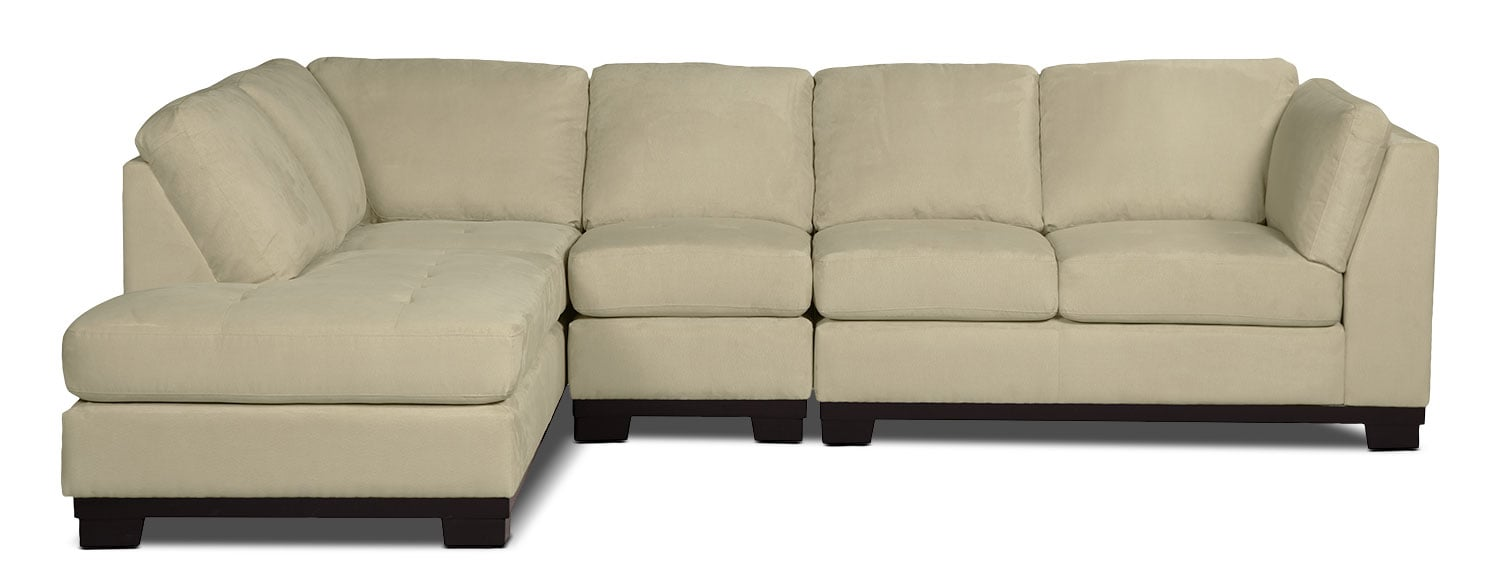 Oakdale 3 piece microsuede left facing sectional for Sectional sofas the brick