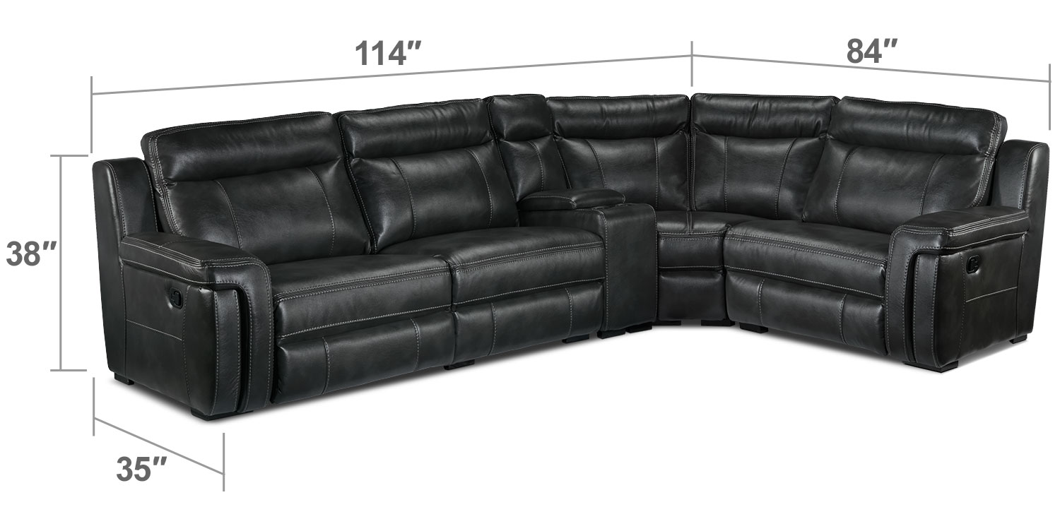 Living Room Furniture - Bolero 5-Piece Reclining Sectional - Grey