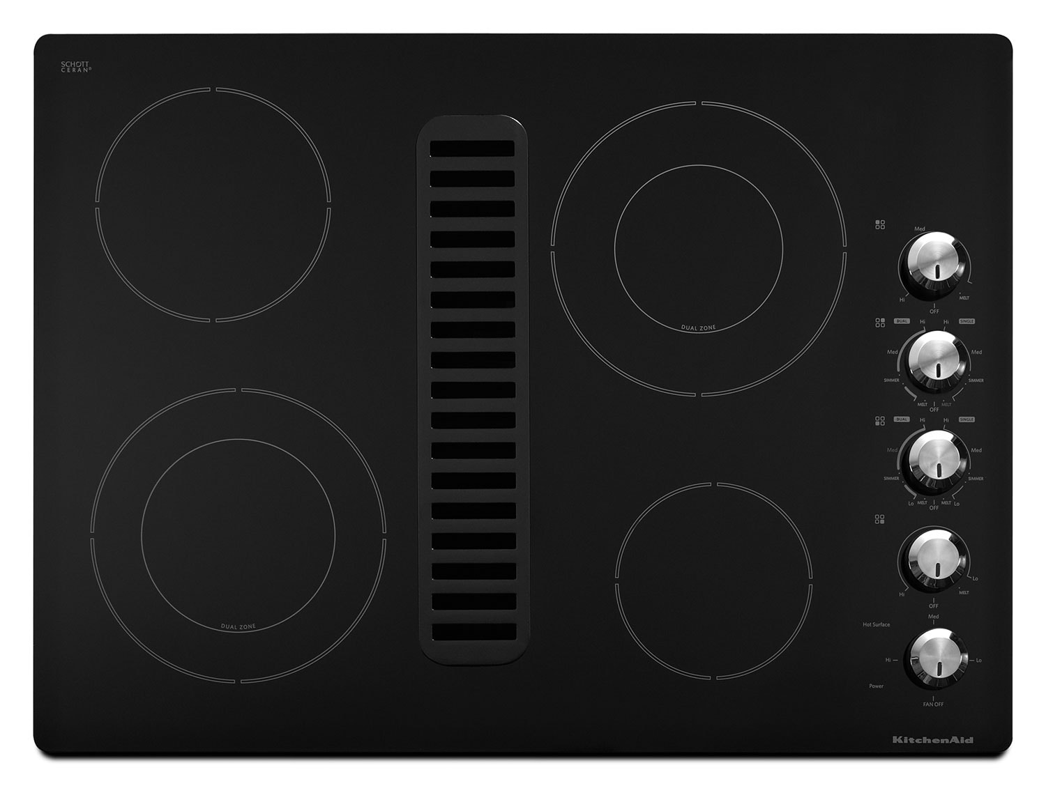 "Cooking Products - KitchenAid 30"" Downdraft Electric Cooktop – KECD807XBL"