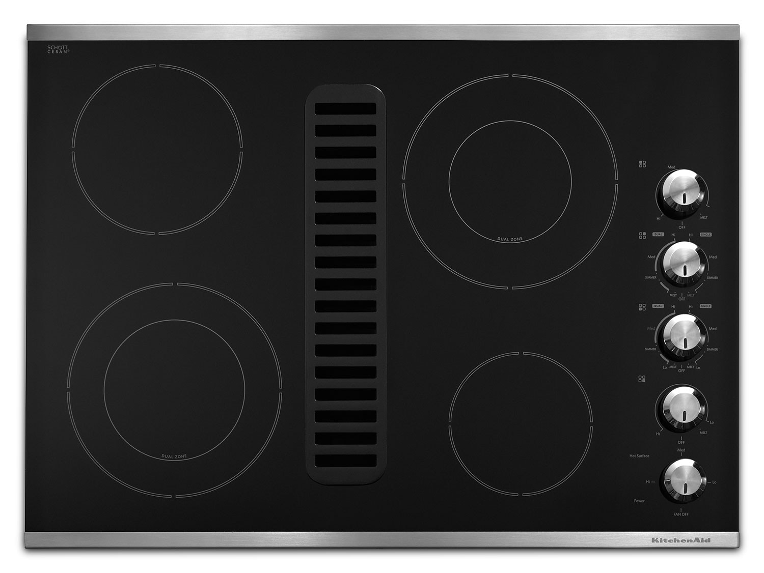 Cooking Products - KitchenAid 30'' Downdraft Electric Cooktop – KECD807XSS
