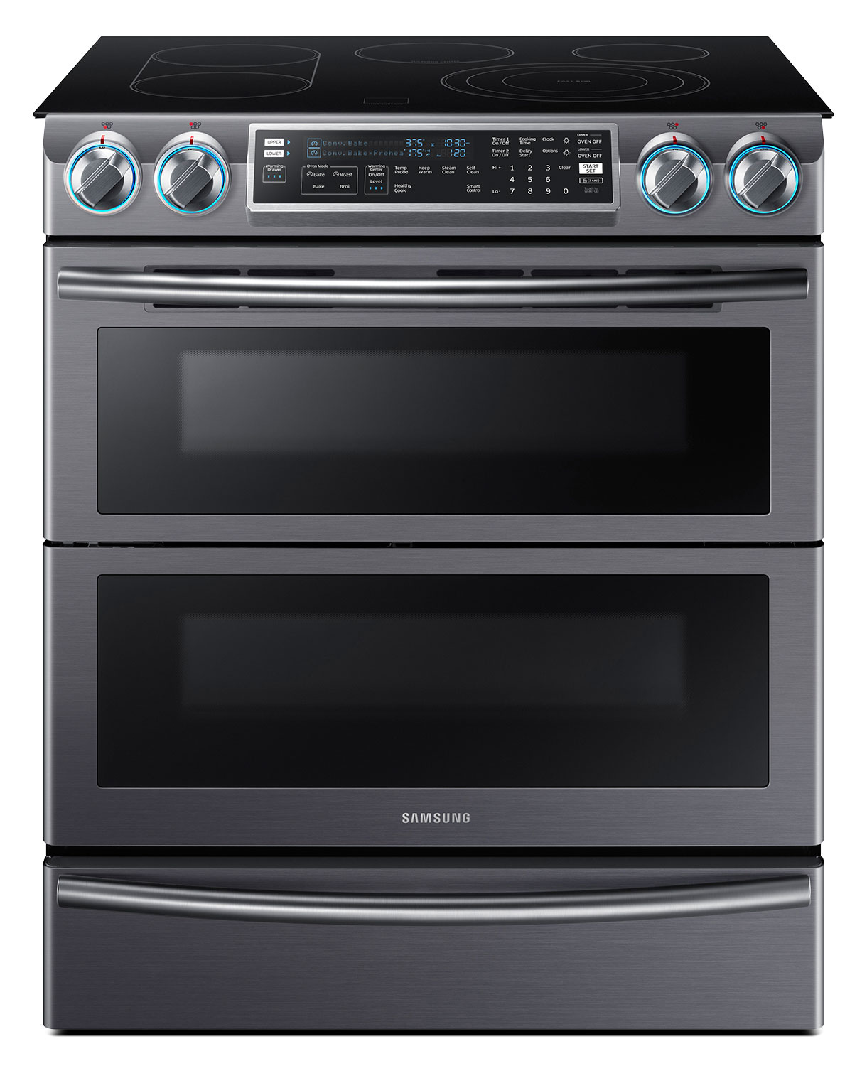 Samsung Black Stainless Steel Slide-In Electric Convection Range (5.8. Cu. Ft.) - NE58K9850WG/AC