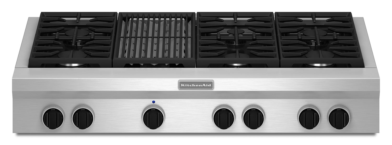 "Cooking Products - KitchenAid 48"" Commercial-Style Gas Cooktop with Grill – KGCU482VSS"