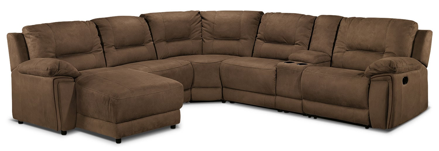 Pasadena 6-Piece Left-Facing Reclining Sectional - Hazelnut