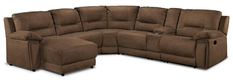 Living Room Furniture - Pasadena 6-Piece Left-Facing Reclining Sectional - Hazelnut