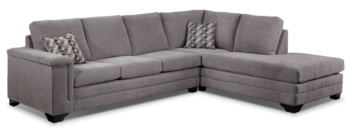 Living Room Furniture - Leighton 2-Piece Right-Facing Sectional - Grey