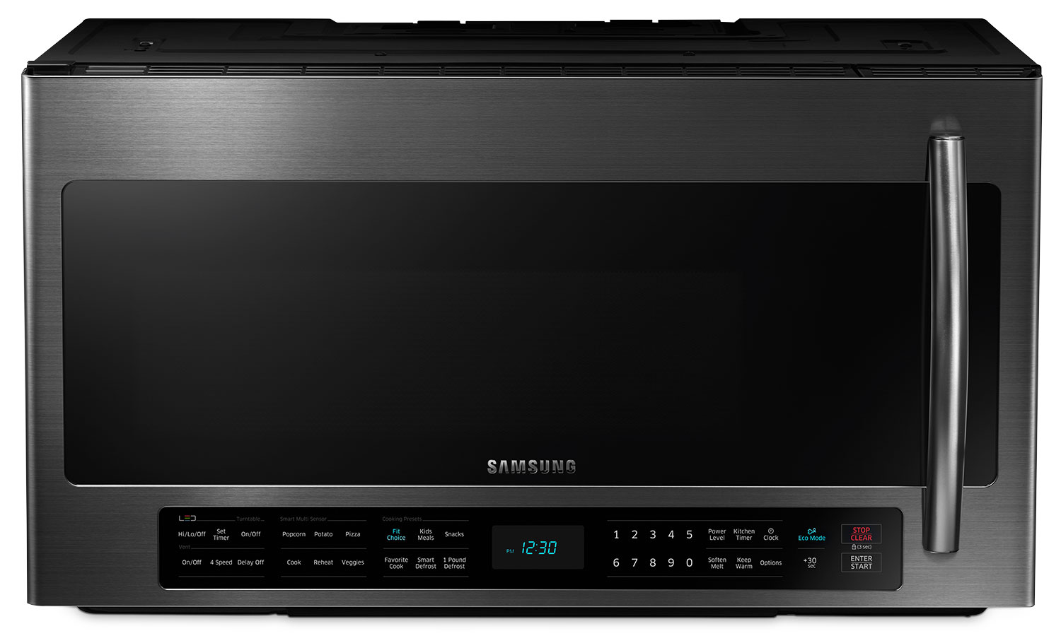 Cooking Products - Samsung Black Stainless Steel Over-the-Range Microwave (2.1 Cu. Ft.) - ME21H706MQG/AC
