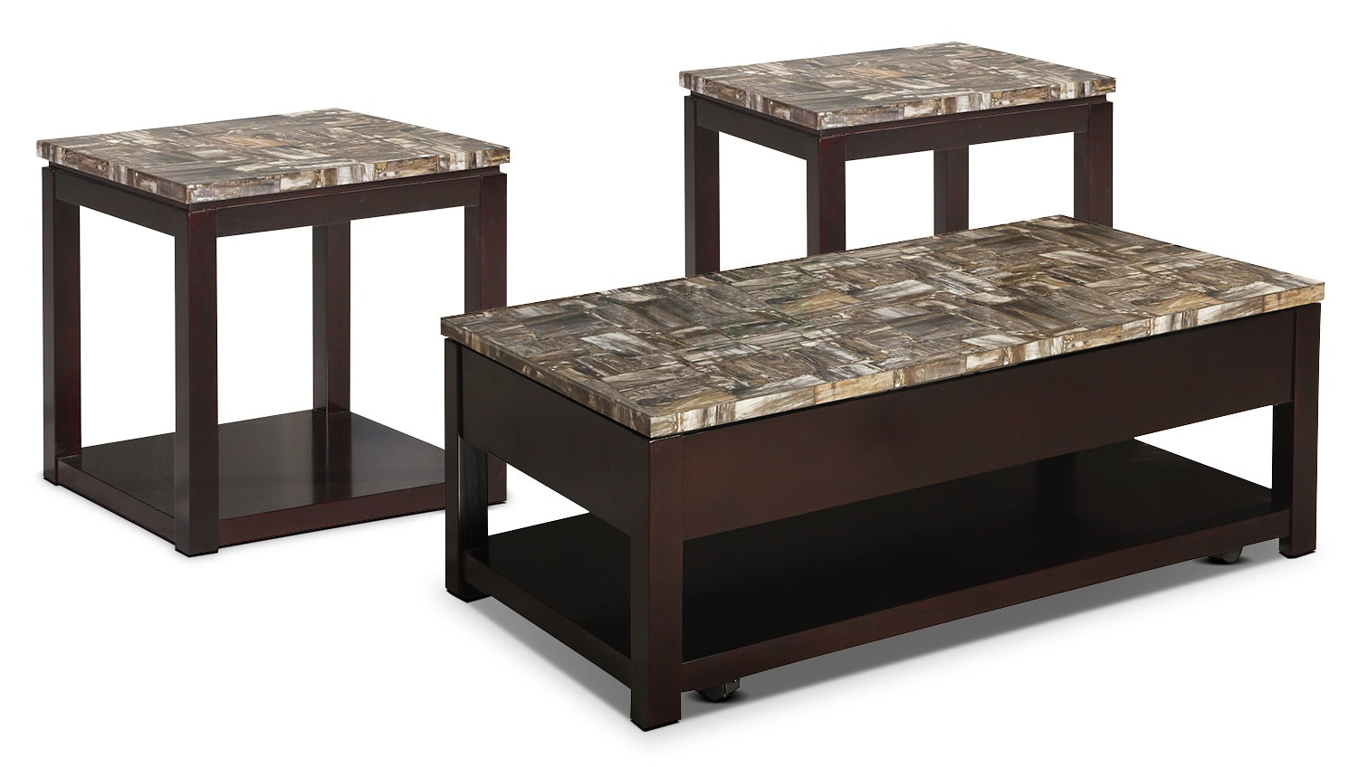 Sicily 3-Piece Coffee and Two End Tables Package – Brown