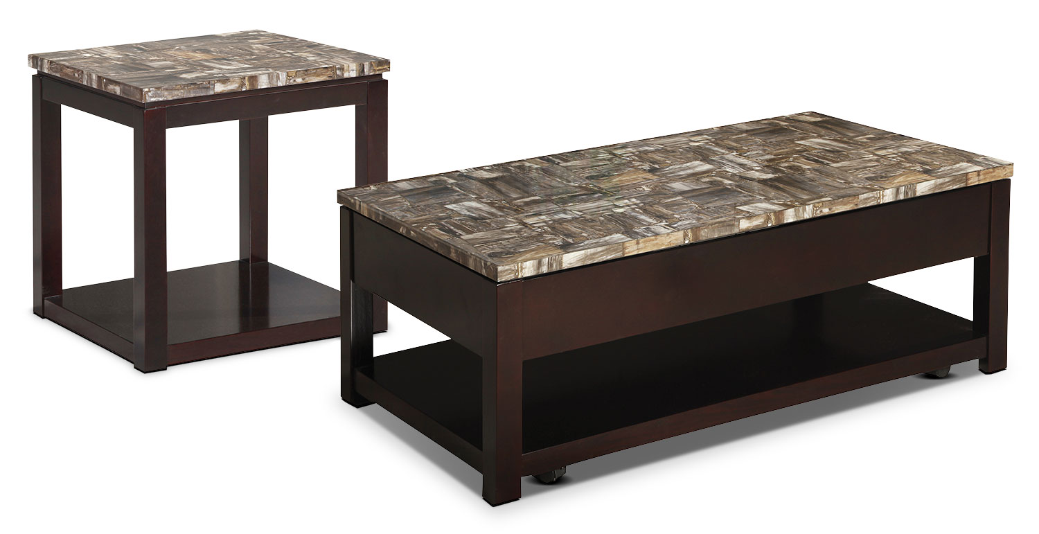 Accent and Occasional Furniture - Sicily 2-Piece Coffee and End Table Package – Deep Chocolate