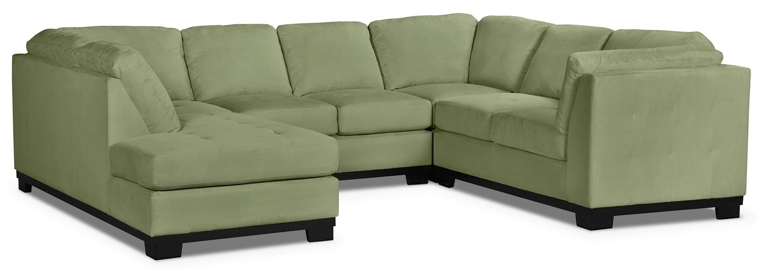 Living Room Furniture - Oakdale 4-Piece Microsuede Left-Facing Sectional – Pear