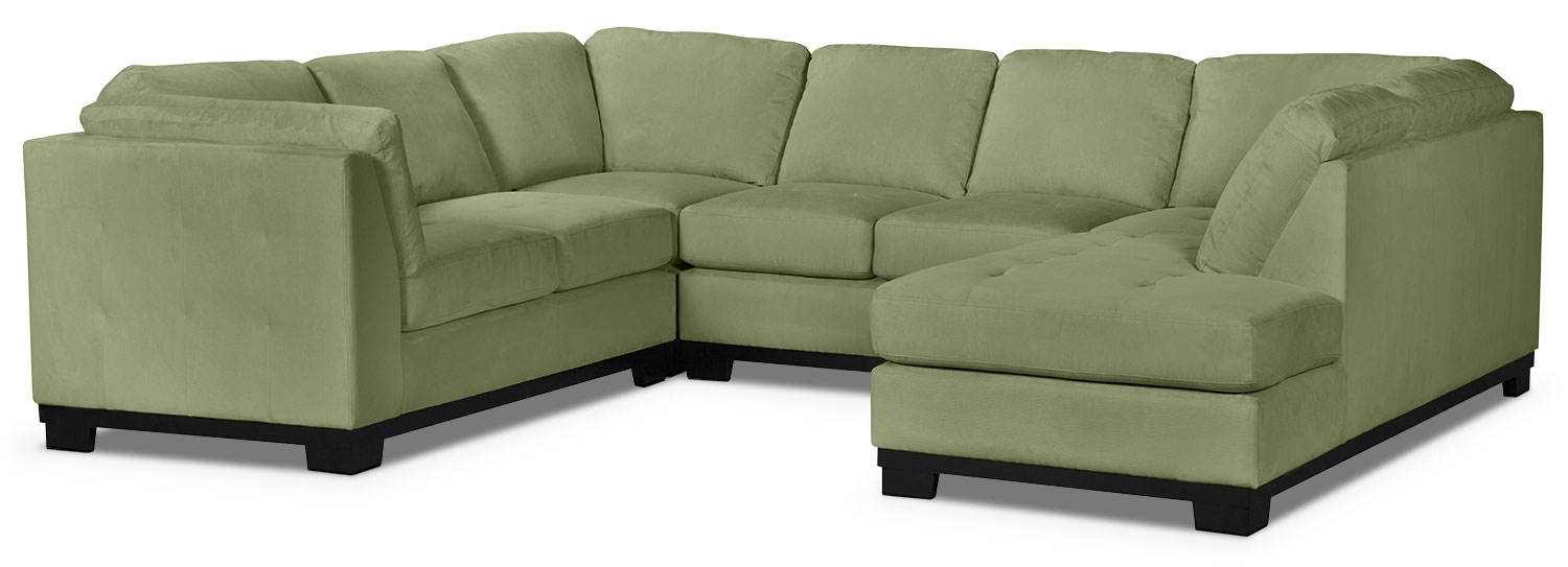 Living Room Furniture - Oakdale 4-Piece Microsuede Right-Facing Sectional – Pear