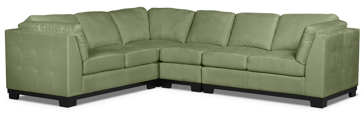 Living Room Furniture - Oakdale 4-Piece Microsuede Sectional – Pear