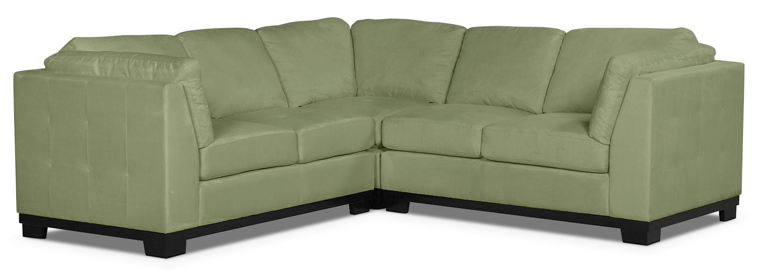 Living Room Furniture - Oakdale 3-Piece Microsuede Living Room Sectional – Pear