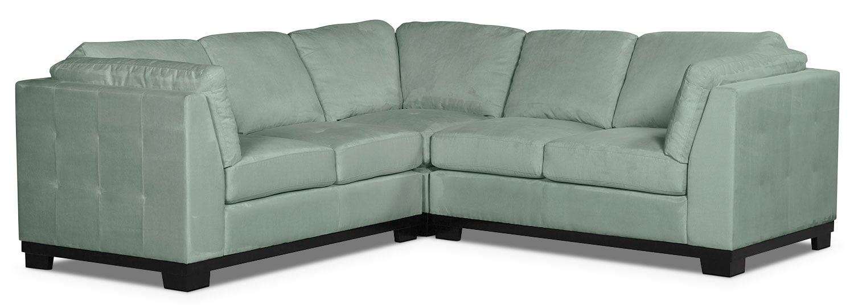 Oakdale 3-Piece Microsuede Living Room Sectional – Aqua